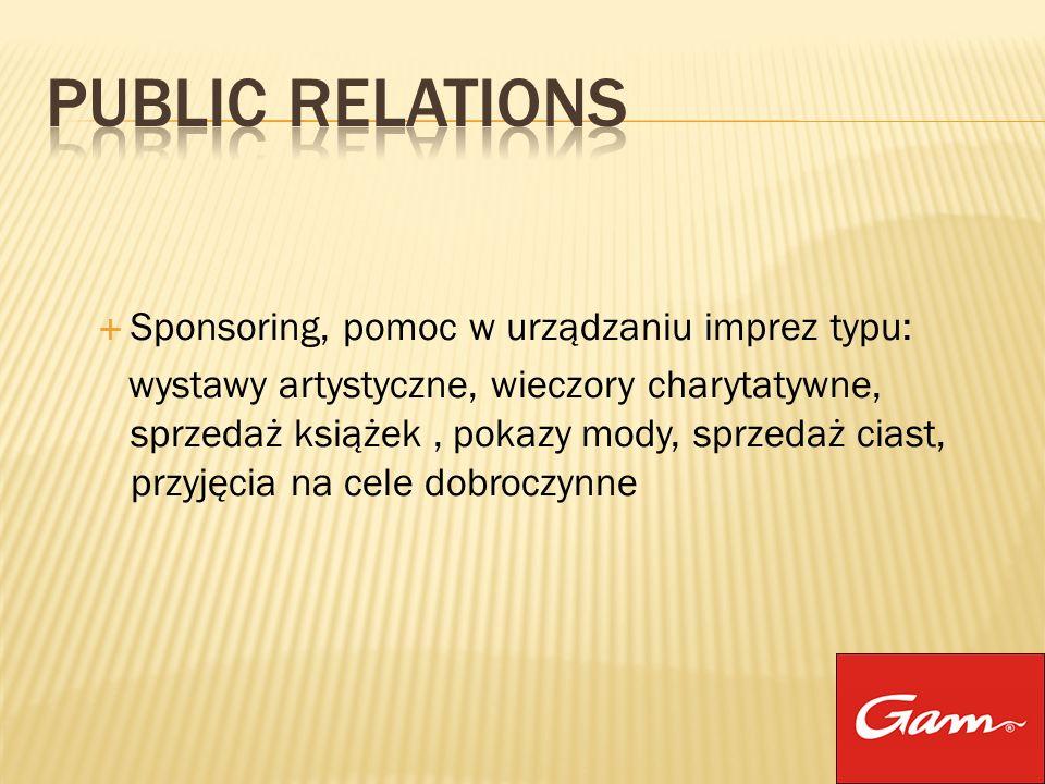 Public Relations Sponsoring, pomoc w urządzaniu imprez typu: