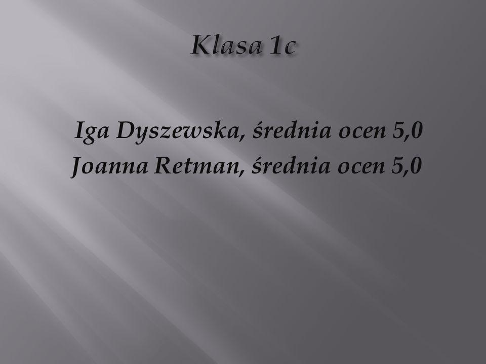 Joanna Retman, średnia ocen 5,0