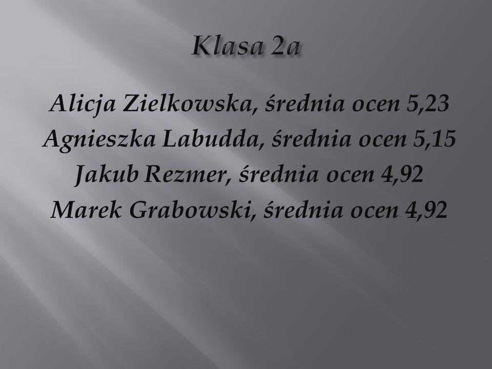 Klasa 2a Alicja Zielkowska, średnia ocen 5,23