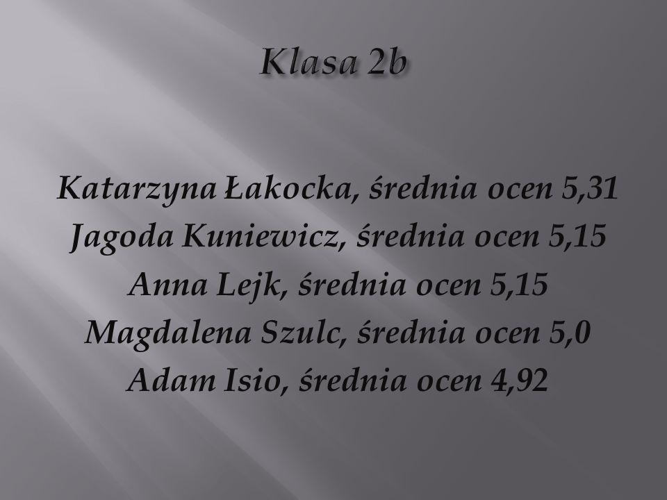 Klasa 2b Katarzyna Łakocka, średnia ocen 5,31