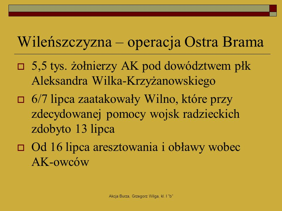 Wileńszczyzna – operacja Ostra Brama