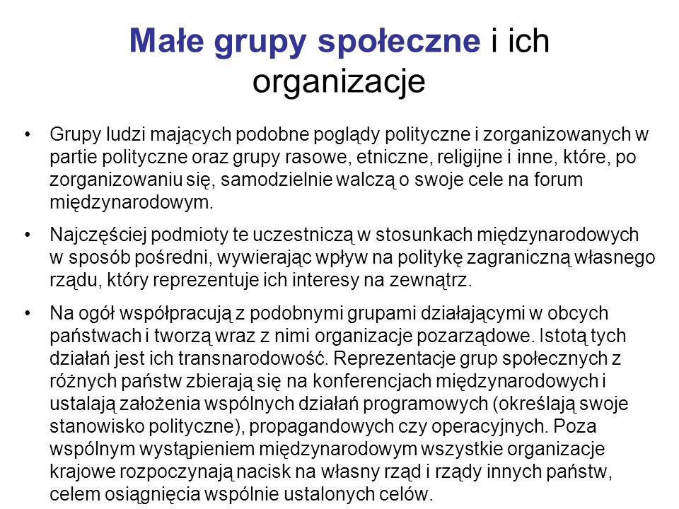 Małe grupy społeczne i ich organizacje