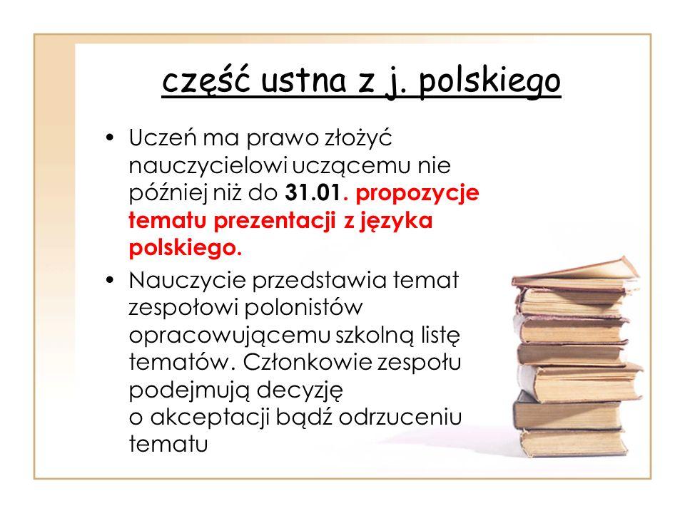 część ustna z j. polskiego