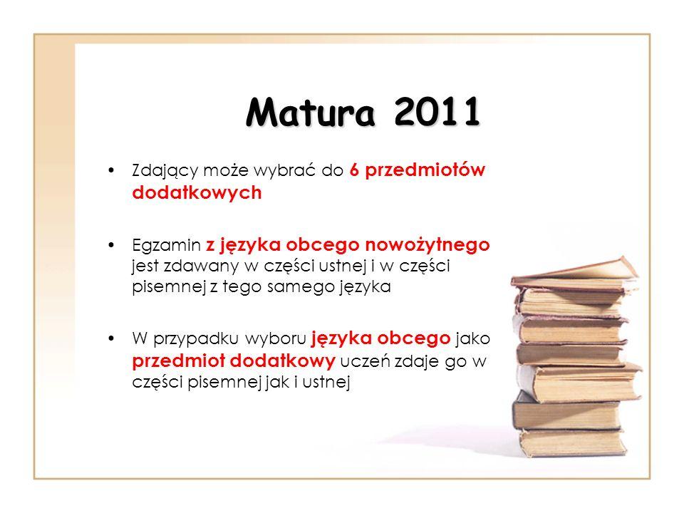 Matura 2011 Zdający może wybrać do 6 przedmiotów dodatkowych