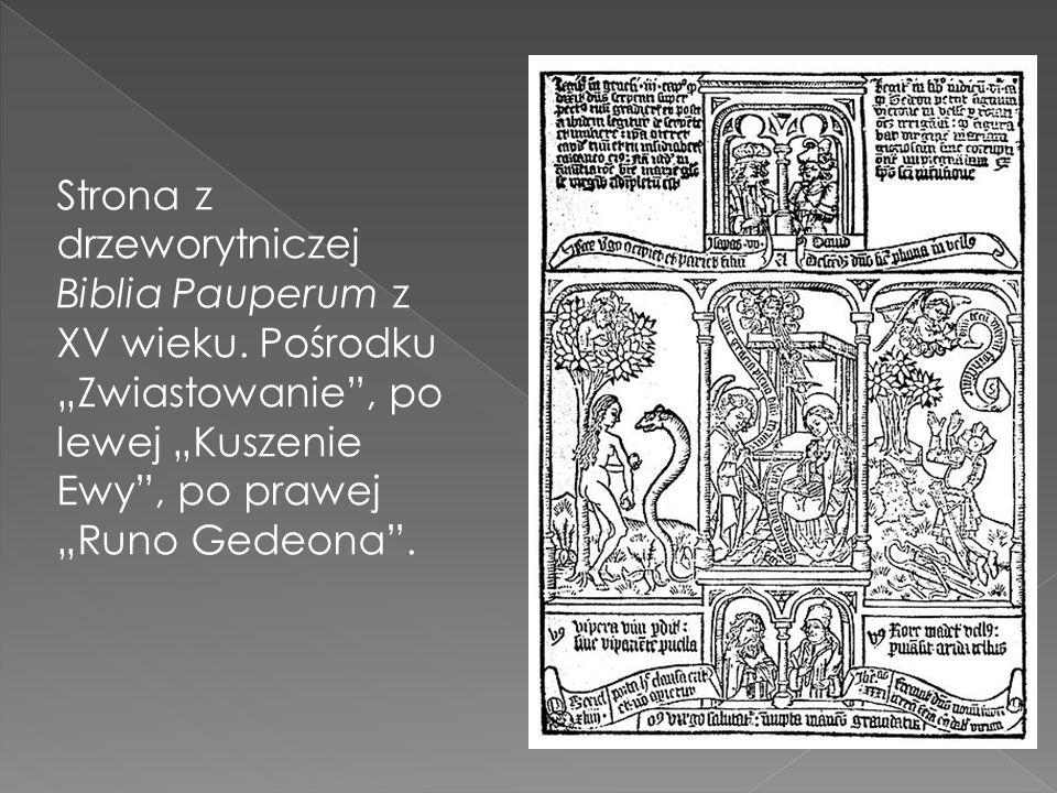 Strona z drzeworytniczej Biblia Pauperum z XV wieku