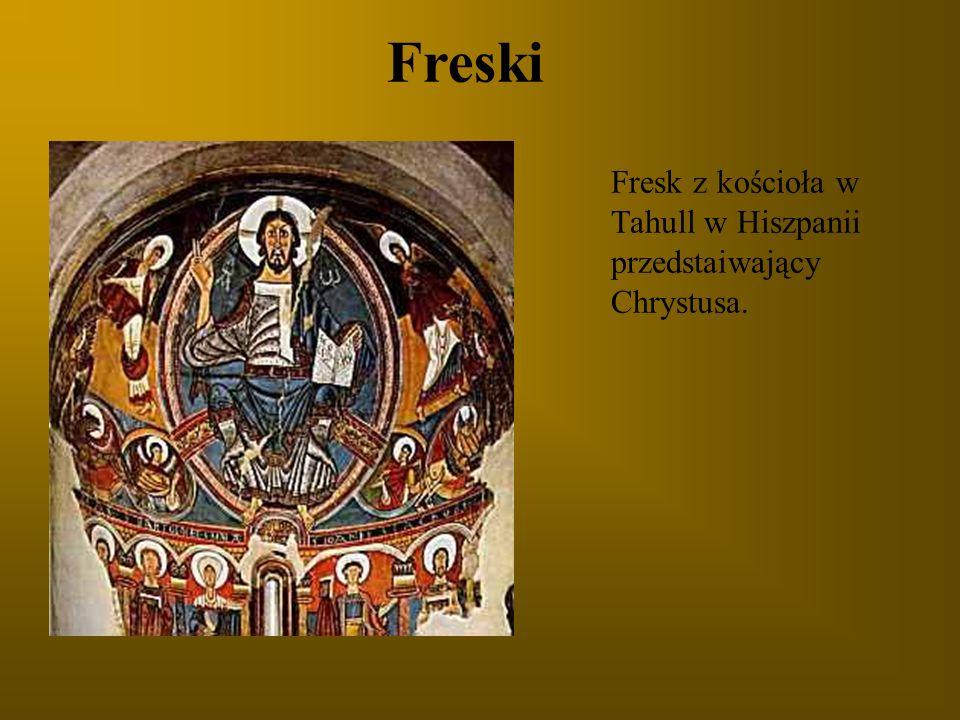 Freski Fresk z kościoła w Tahull w Hiszpanii przedstaiwający Chrystusa.