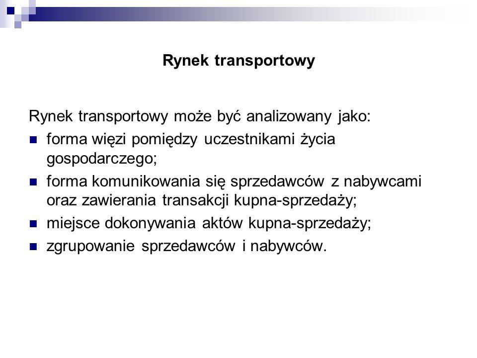 Rynek transportowy Rynek transportowy może być analizowany jako: forma więzi pomiędzy uczestnikami życia gospodarczego;