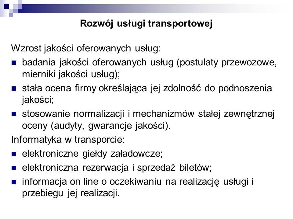 Rozwój usługi transportowej