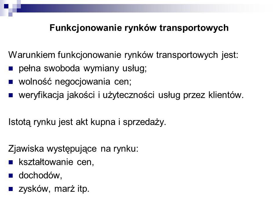 Funkcjonowanie rynków transportowych