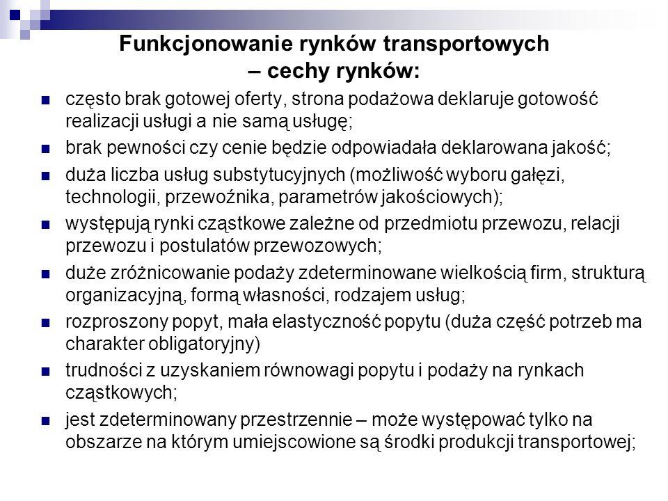 Funkcjonowanie rynków transportowych – cechy rynków: