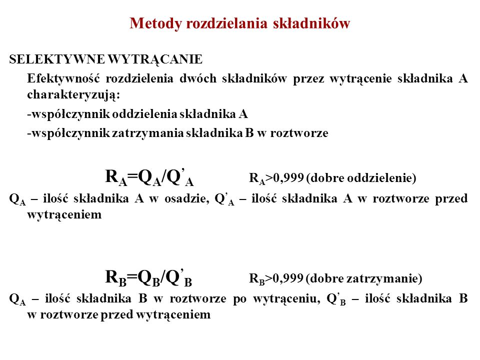 Metody rozdzielania składników