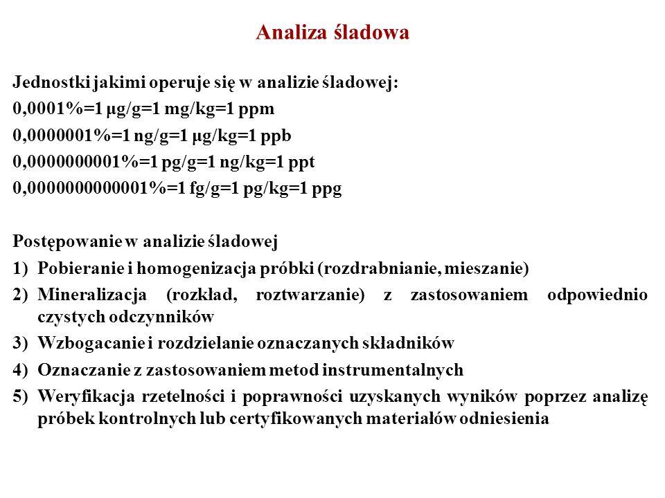 Analiza śladowa Jednostki jakimi operuje się w analizie śladowej: