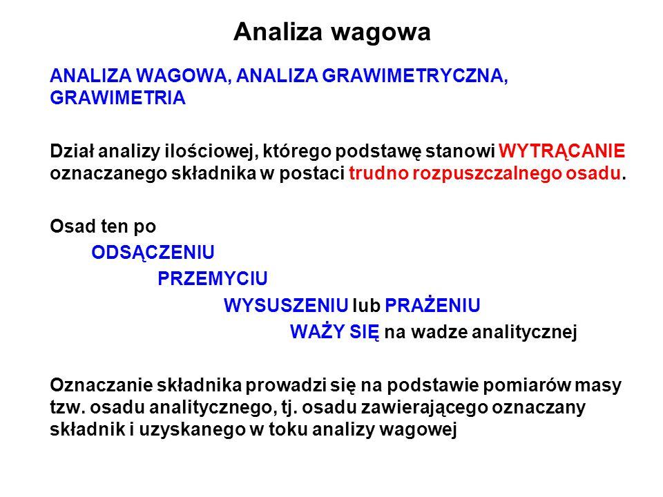 Analiza wagowa ANALIZA WAGOWA, ANALIZA GRAWIMETRYCZNA, GRAWIMETRIA