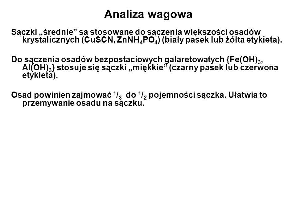 """Analiza wagowa Sączki """"średnie są stosowane do sączenia większości osadów krystalicznych (CuSCN, ZnNH4PO4) (biały pasek lub żółta etykieta)."""