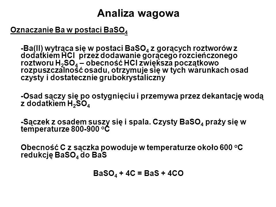 Analiza wagowa Oznaczanie Ba w postaci BaSO4