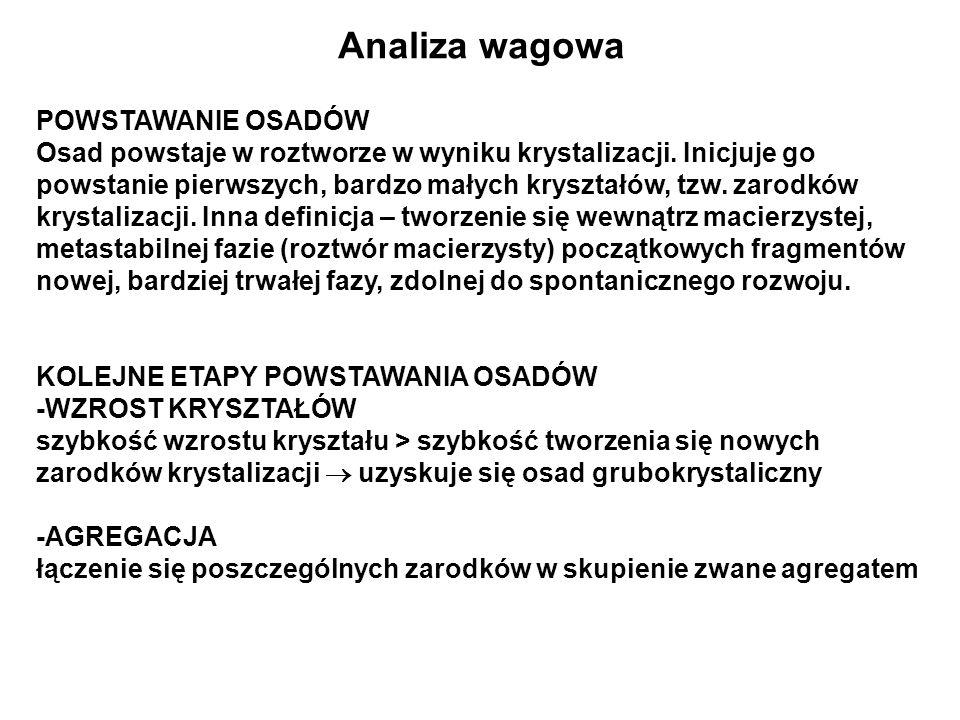 Analiza wagowa POWSTAWANIE OSADÓW