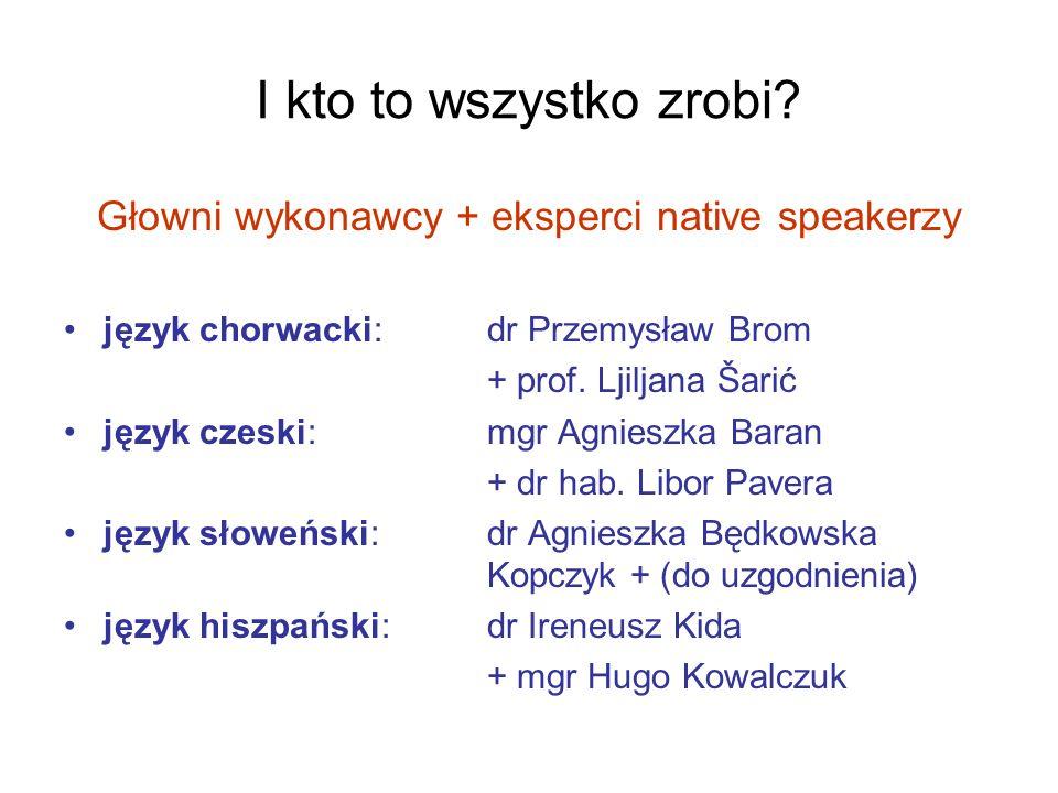 Głowni wykonawcy + eksperci native speakerzy