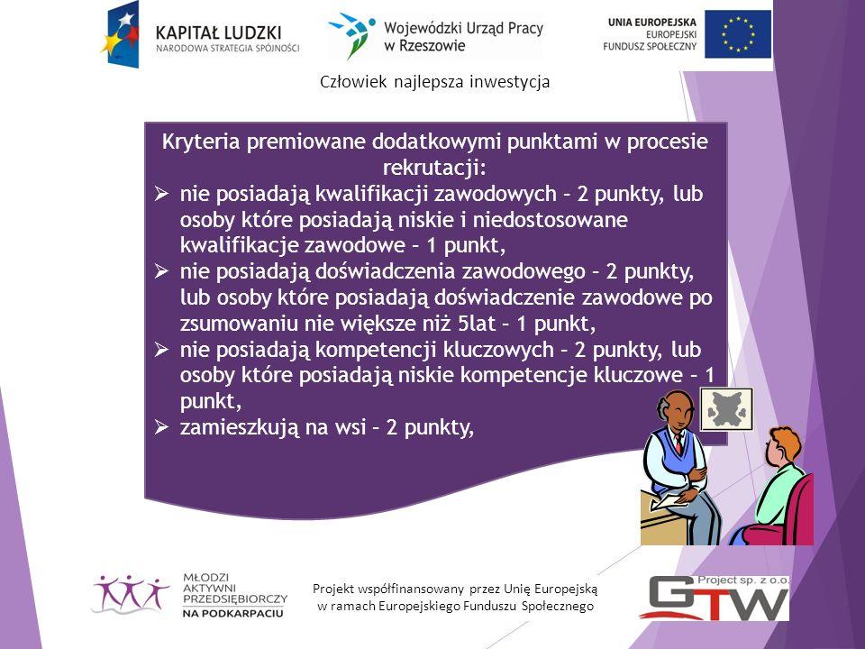 Kryteria premiowane dodatkowymi punktami w procesie rekrutacji: