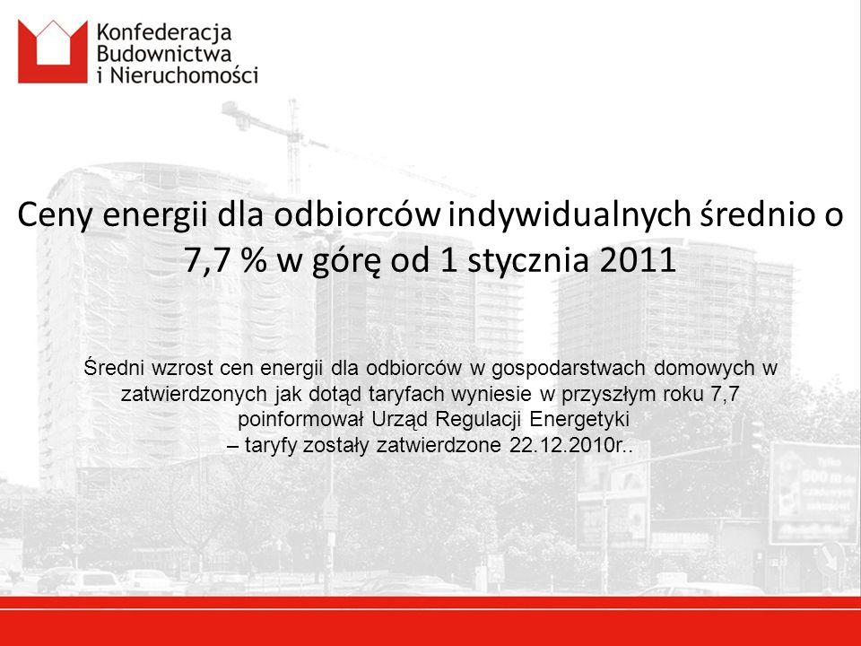 Ceny energii dla odbiorców indywidualnych średnio o 7,7 % w górę od 1 stycznia 2011