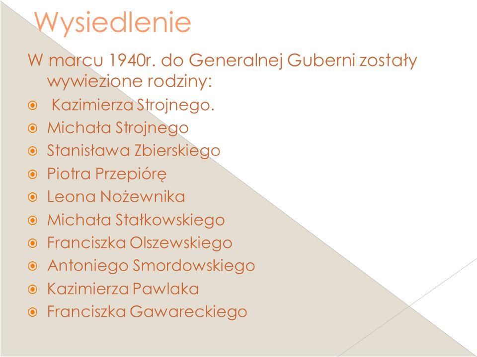 Wysiedlenie W marcu 1940r. do Generalnej Guberni zostały wywiezione rodziny: Kazimierza Strojnego.