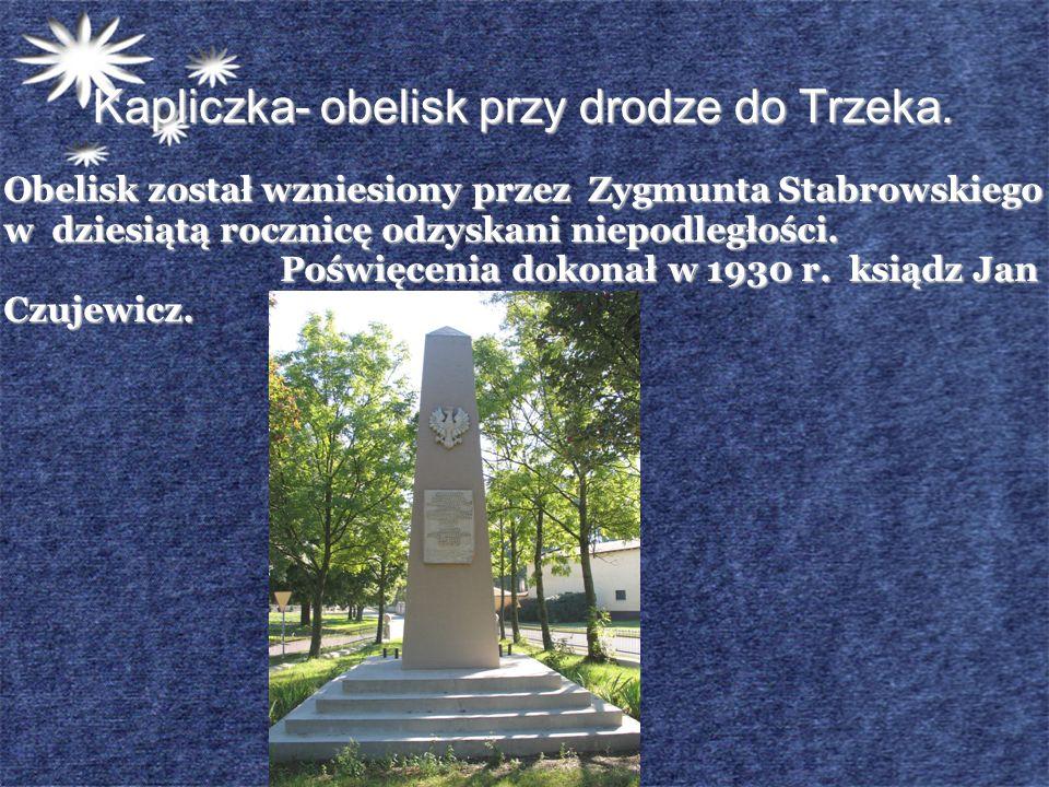 Kapliczka- obelisk przy drodze do Trzeka.