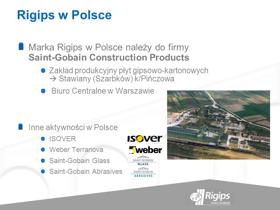 Rigips w Polsce Marka Rigips w Polsce należy do firmy Saint-Gobain Construction Products.