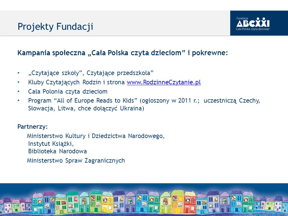"""Projekty Fundacji Kampania społeczna """"Cała Polska czyta dzieciom i pokrewne: """"Czytające szkoły , Czytające przedszkola"""