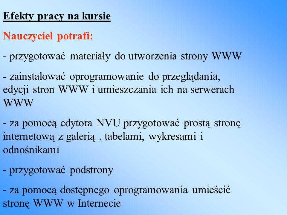 Efekty pracy na kursie Nauczyciel potrafi: - przygotować materiały do utworzenia strony WWW.