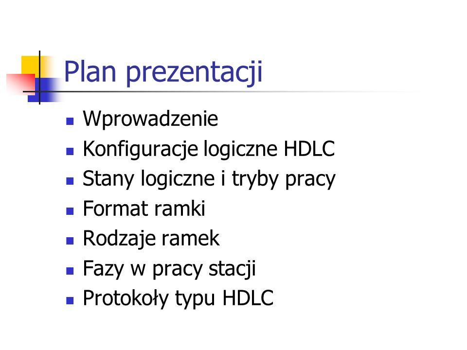 Plan prezentacji Wprowadzenie Konfiguracje logiczne HDLC