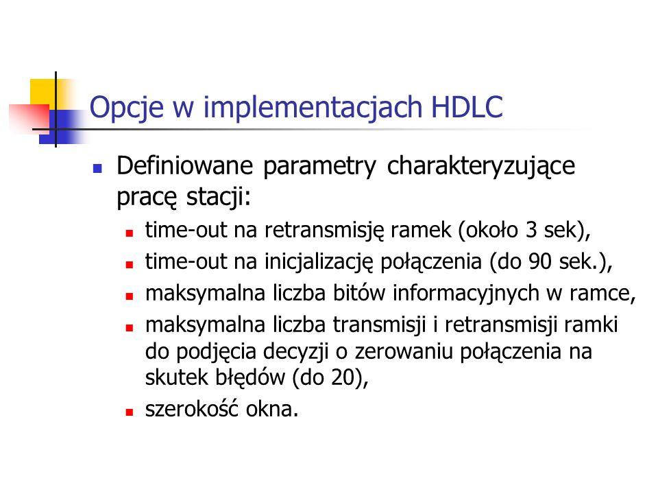 Opcje w implementacjach HDLC