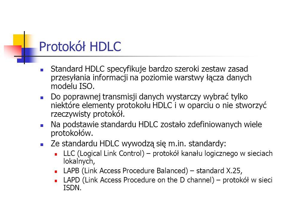 Protokół HDLC Standard HDLC specyfikuje bardzo szeroki zestaw zasad przesyłania informacji na poziomie warstwy łącza danych modelu ISO.
