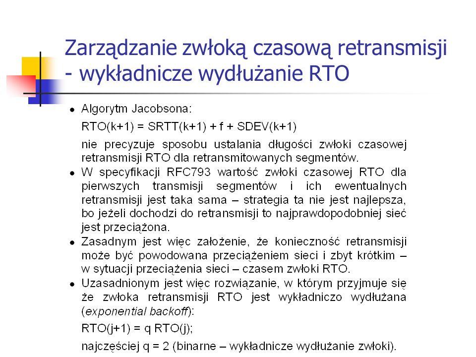 Zarządzanie zwłoką czasową retransmisji - wykładnicze wydłużanie RTO