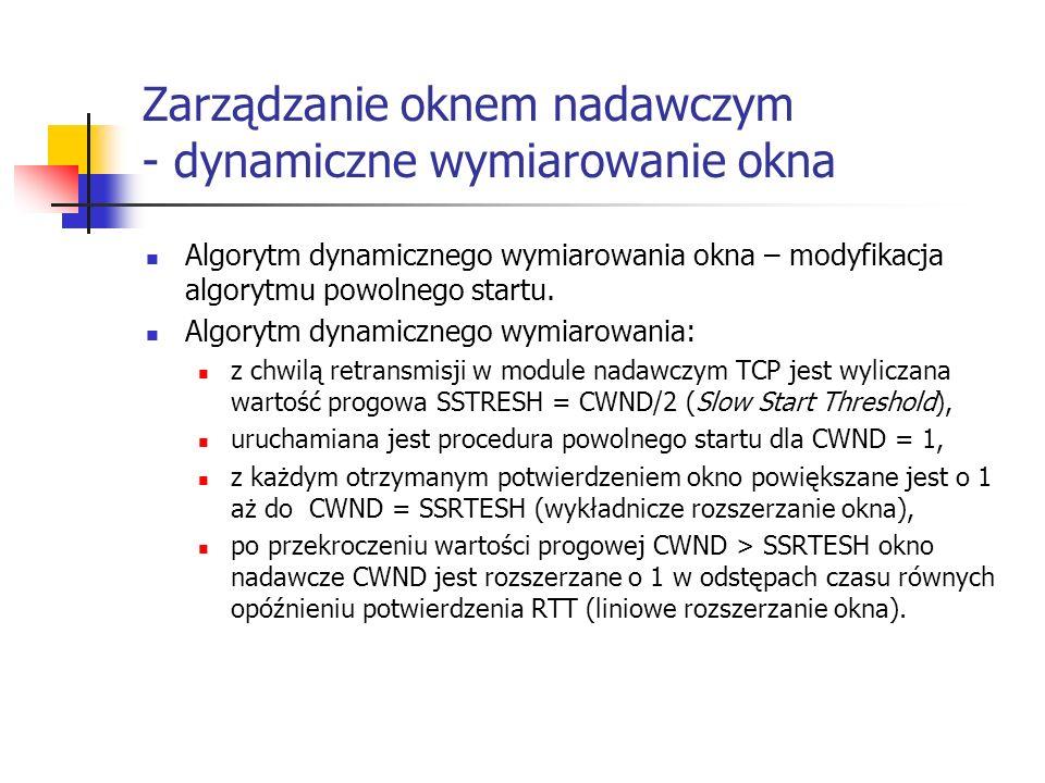 Zarządzanie oknem nadawczym - dynamiczne wymiarowanie okna