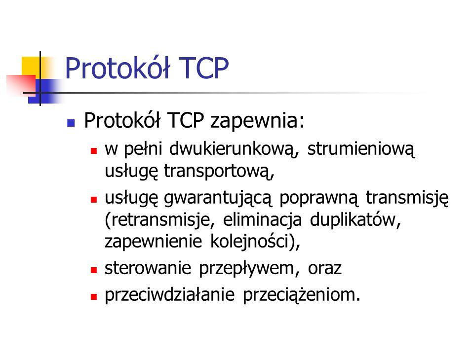 Protokół TCP Protokół TCP zapewnia: