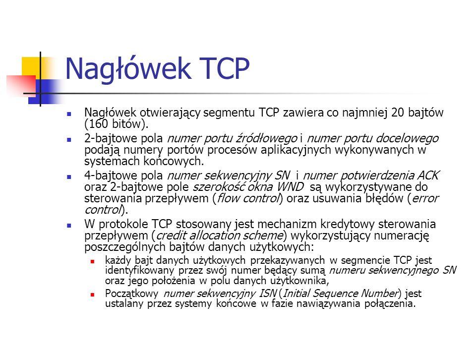 Nagłówek TCP Nagłówek otwierający segmentu TCP zawiera co najmniej 20 bajtów (160 bitów).