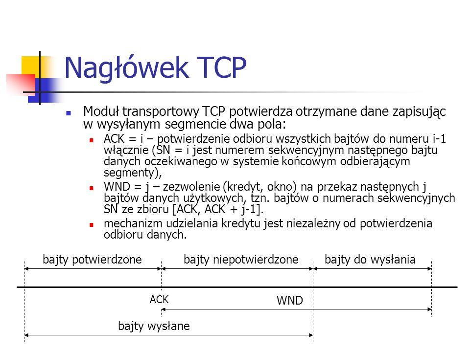 Nagłówek TCP Moduł transportowy TCP potwierdza otrzymane dane zapisując w wysyłanym segmencie dwa pola: