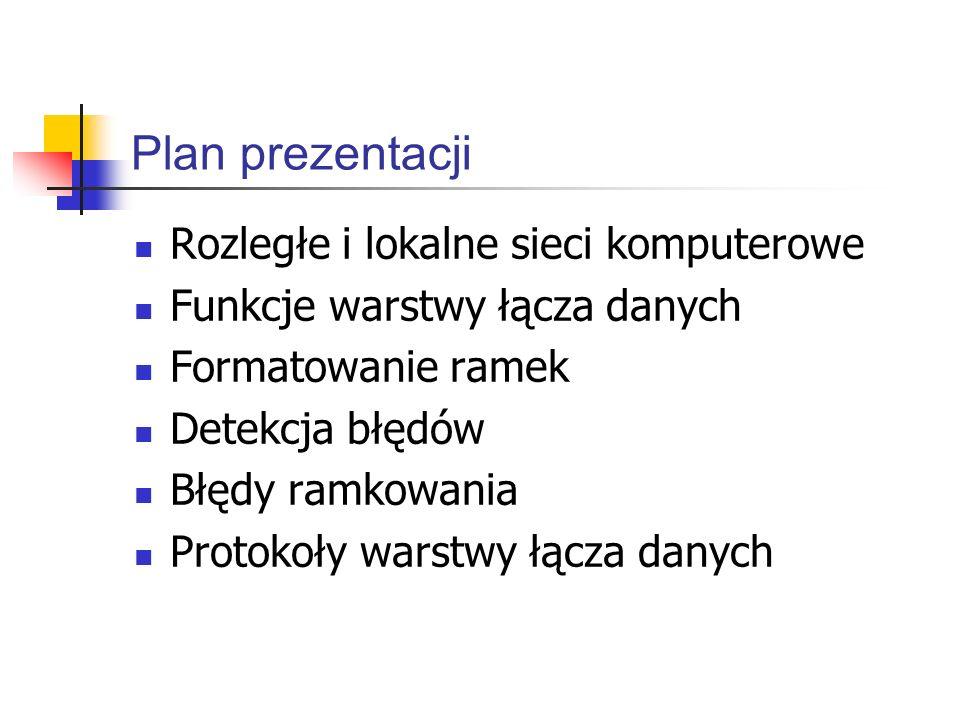 Plan prezentacji Rozległe i lokalne sieci komputerowe