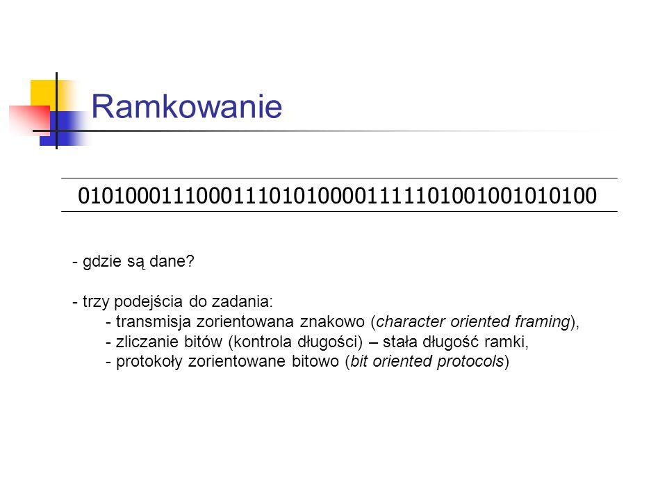 Ramkowanie 0101000111000111010100001111101001001010100. - gdzie są dane - trzy podejścia do zadania: