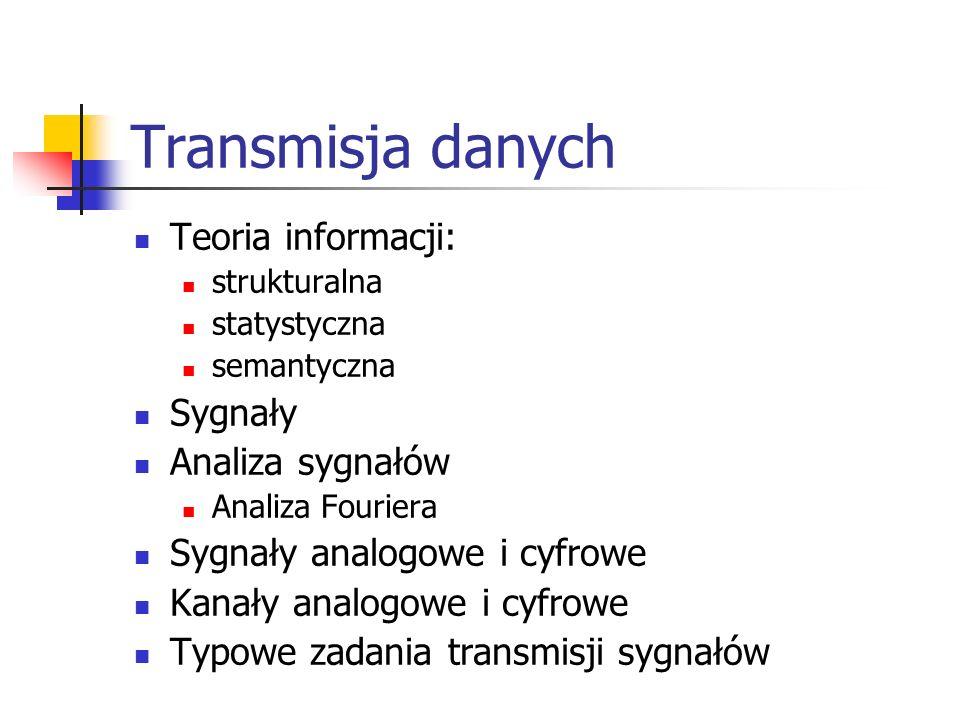 Transmisja danych Teoria informacji: Sygnały Analiza sygnałów