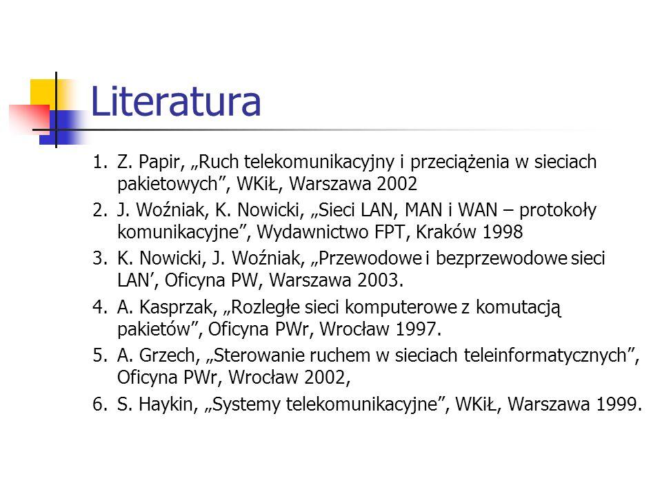 """Literatura 1. Z. Papir, """"Ruch telekomunikacyjny i przeciążenia w sieciach pakietowych , WKiŁ, Warszawa 2002."""