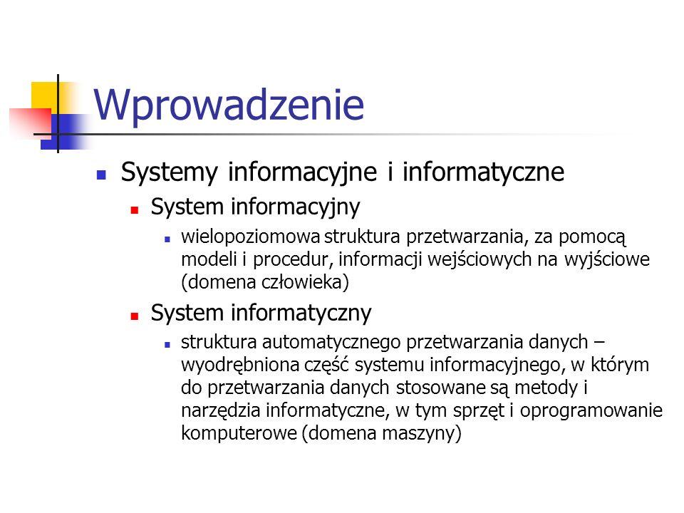 Wprowadzenie Systemy informacyjne i informatyczne System informacyjny