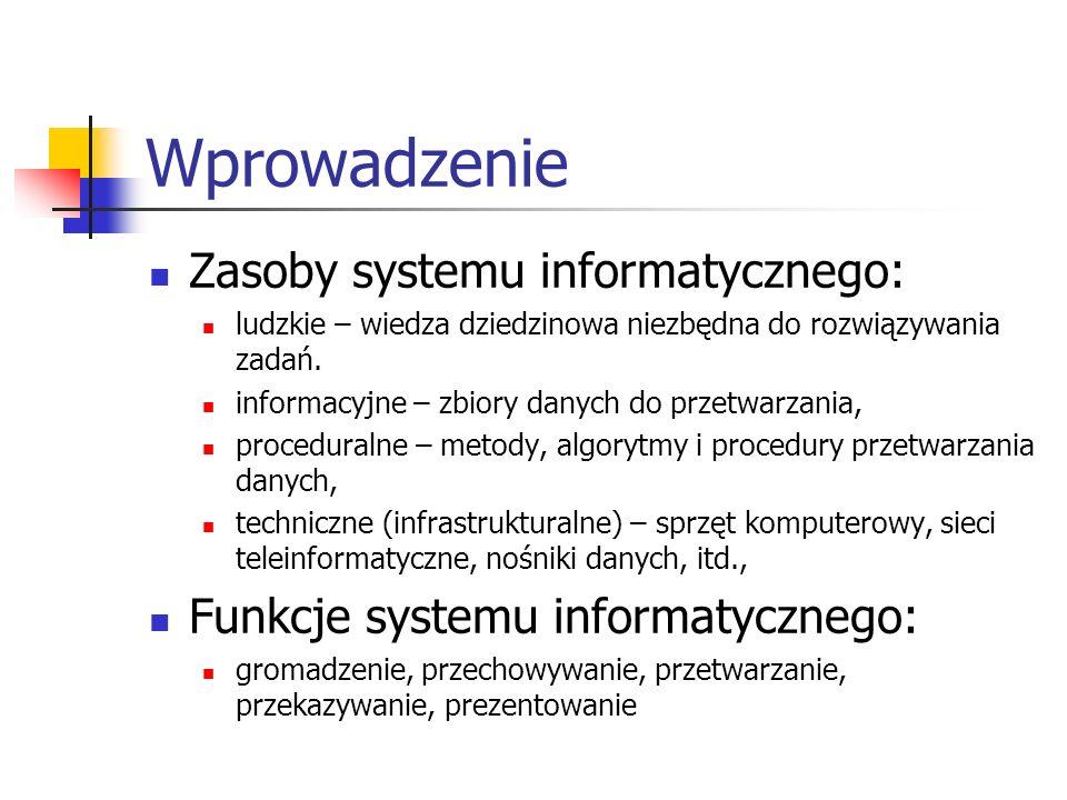 Wprowadzenie Zasoby systemu informatycznego: