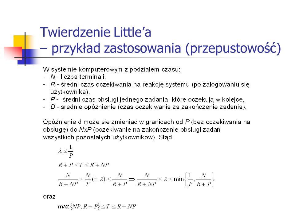 Twierdzenie Little'a – przykład zastosowania (przepustowość)