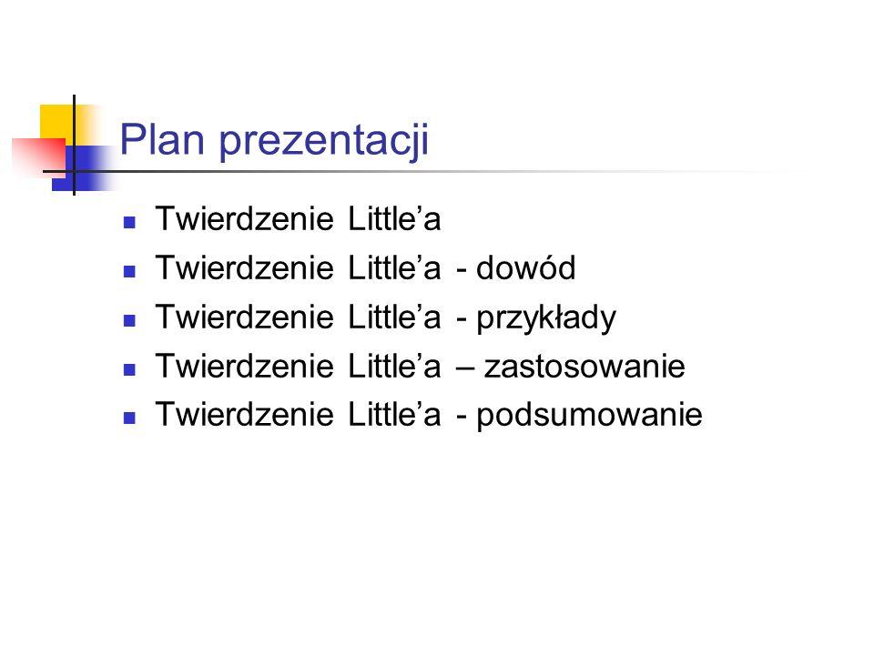 Plan prezentacji Twierdzenie Little'a Twierdzenie Little'a - dowód