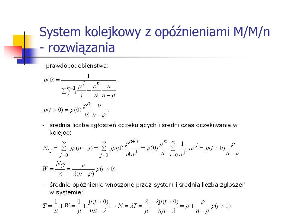 System kolejkowy z opóźnieniami M/M/n - rozwiązania
