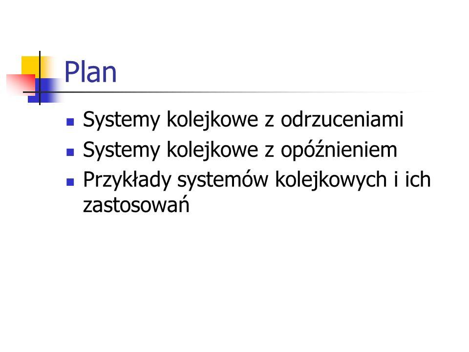 Plan Systemy kolejkowe z odrzuceniami Systemy kolejkowe z opóźnieniem