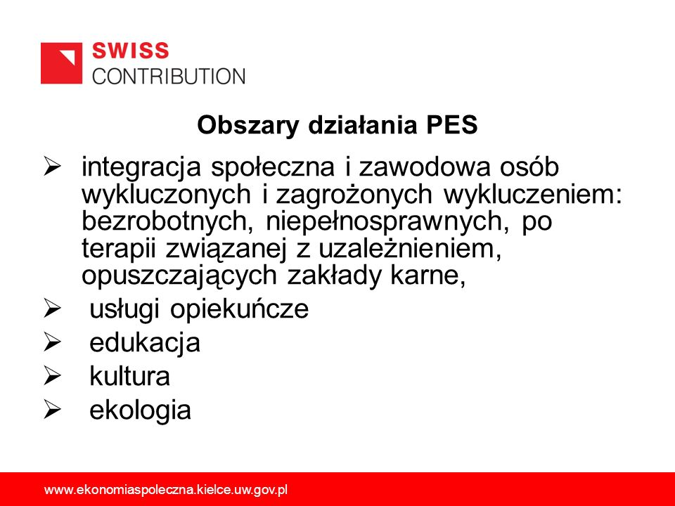 Obszary działania PES