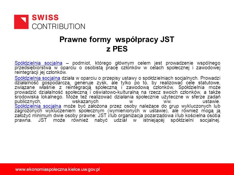 Prawne formy współpracy JST z PES