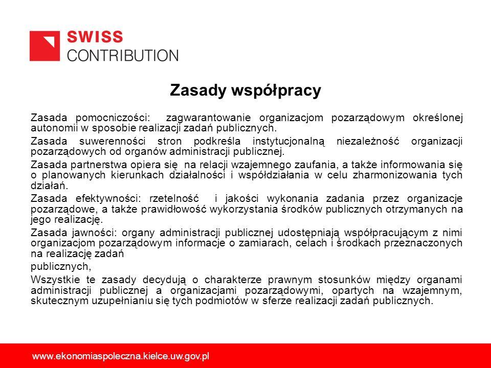 Zasady współpracy Zasada pomocniczości: zagwarantowanie organizacjom pozarządowym określonej autonomii w sposobie realizacji zadań publicznych.