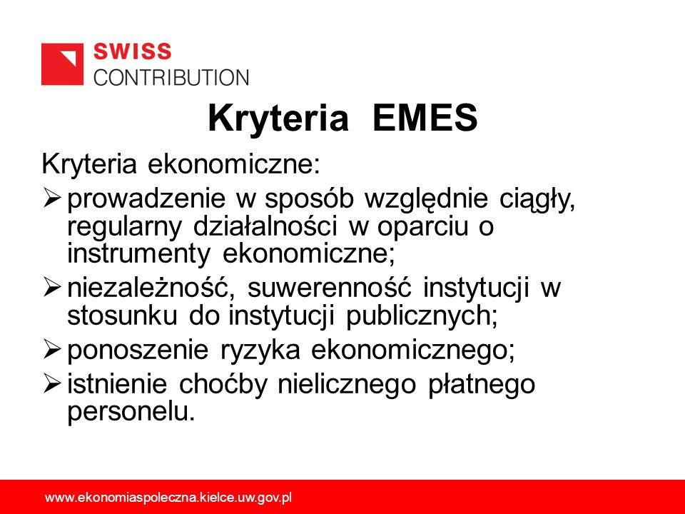 Kryteria EMES Kryteria ekonomiczne: